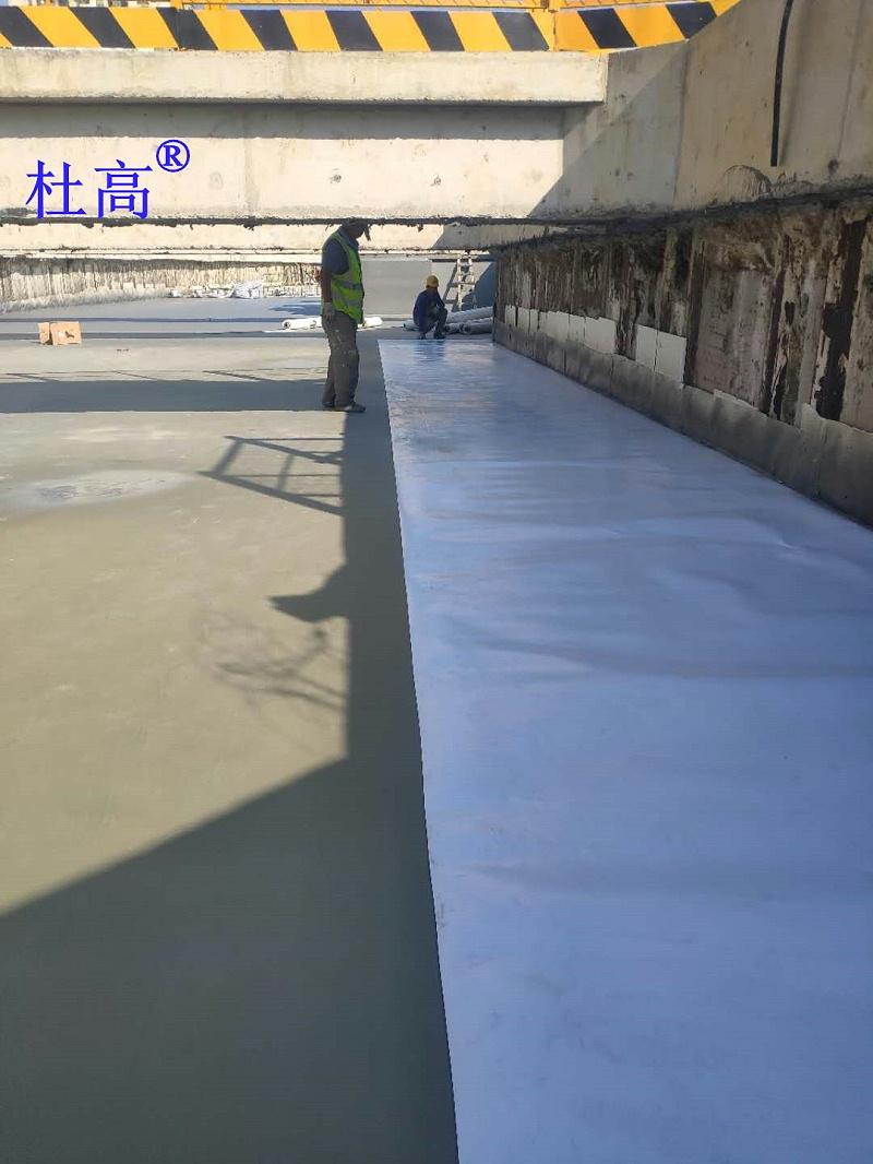 金鸡湖隧道主体结构顶板杜高耐根穿刺防水卷材施工